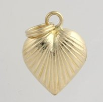Other Ribbed Heart Pendant - 14k Yellow Gold Womens Fine Estate Love Polished