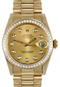 Rolex Rolex 31mm Mid-Size 18k Yellow Gold Champagne Diamond Dial President Watch