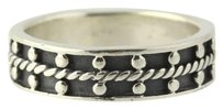 Rope Bead Ring - 925 Sterling Silver Band Womens Fine Estate 8.25-8.5