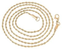 Rose Gold Rope Chain Stainless Steel Mens Twisted Rope Necklace In 14k Finish
