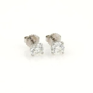 Round Cut 2.01ct Diamonds 14k White Gold Stud Earrings Gia Certified F-si1