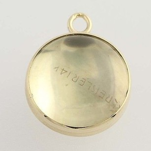 Round Glass Charm - 14k Yellow Gold Pendant Kreisler Vintage Womens