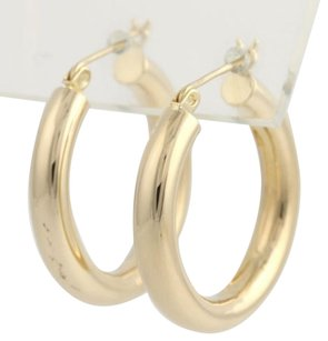 Round Hoop Earrings - 14k Yellow Gold Womens Polished Lightweight 26.1mm