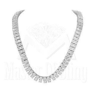 Row Mens Necklace 14k White Gold Finish 30 Round Simulated Lab Diamonds Sale