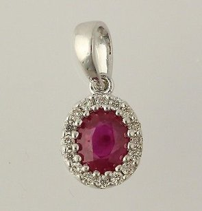 Other Ruby Diamond Pendant - 14k White Gold July Birthstone Genuine .48ctw