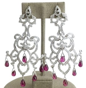 Ruby Diamond Vintage Earrings 446 Diamonds 4.46 Carat T.w. 18k White Max063913