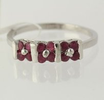 Ruby Flower Ring - 925 Sterling Silver Band Womens Fine Estate Red
