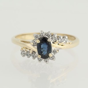 Sapphire Diamond Bypass Ring - 14k Yellow White Gold September .75ctw