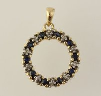 Sapphire Pendant - 925 Sterling Silver Gold Plated Diamond Accent Womens