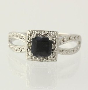 Sapphire Ring - Sterling Silver Halo Setting Diamond Accents Womens