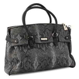 Other Miadora Rebecca Python Embossed Snake Framed Satchel in Black
