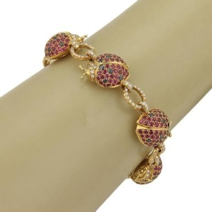 Scavia Estate 5.50ct Diamonds Rubies 18k Yellow Gold Lady Bug Bracelet