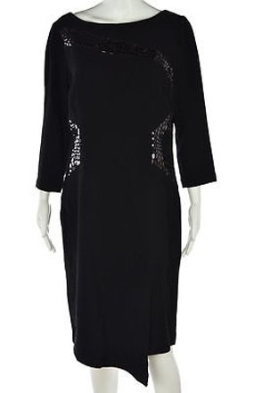 760166d2ff1 Rickie Freeman Teri Jon Women Black Shift Dress Wool Below Knee Casual   19788913 - best