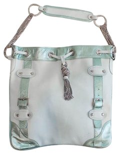 Other Gusttos Mint Silver Metallic Chain Tote Xlnt Shoulder Bag
