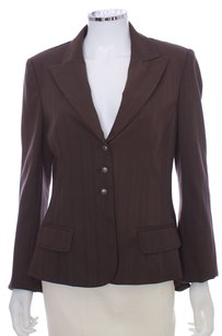 Silk Spandex Leather Lined Brown Blazer