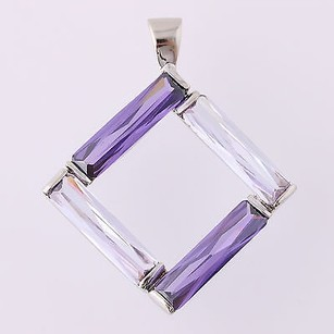 Other Simulated Amethyst Pendant - Sterling Silver February Birthstone