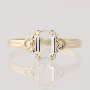 Other Simulated White Cz Glass Ring - 10k Yellow Gold Emerald Solitaire
