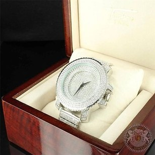 Other Sizzling Silver Mens Fully Iced Out Party Wear Brilliant Cut Lab Diamond Watch