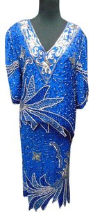 Linsiano Blue Silver Silk Beaded Sequined Two Piece Skirt Suit 2594a
