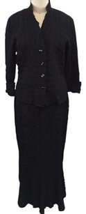 Courtney Washington Black Puckered Top S Maxi Skirt Suit