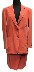 Other Sartoria Attolini Salmon Silk Button Blazer And Pencil Skirt Suit 5247a