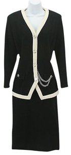 Other St. Anthony Knits Black Cream Silver Chain Piece Skirt Suit B327