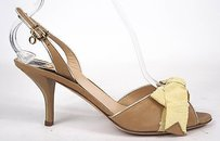 Other Ojour Grosgrain Bow Tie Peep Toe Slingback Heels Tan Pumps
