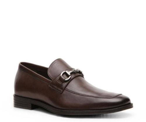 aston grey haywood mens leather slip on dress shoes brown