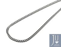 Solid 10k White Gold 2.5mm Wide Franco Link Chain Necklace From 22-38 Inches