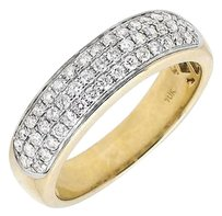 Other Solid 10k Yellow Gold Three Rows Pave Genuine Diamond Wedding Ring Band .90ct