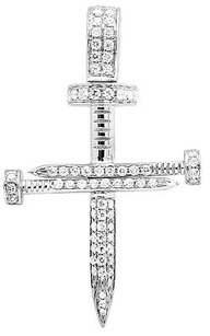 Solid 14k White Gold Nail Cross Genuine Diamond 1.25 Inches Charm Pendant 0.70ct