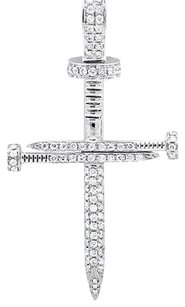 Solid 14k White Gold Nail Cross Genuine Diamond Inches Charm Pendant 0.85ct
