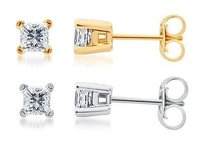 Other Solid 14k White Or Yellow Gold Princess Diamond Solitaire Studs Earrings 12 Ct