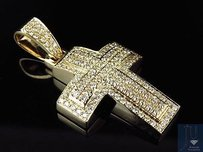 Solid 14k Yellow Gold Dome Shape Genuine Diamond 1.5 Inches Cross Pendant 2ct