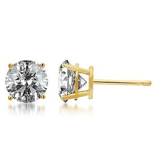 Solid 14k Yellow Gold Round Cut Diamond Solitaire Studs Earrings 12 Ct