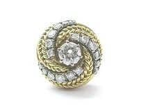 18kt Round Cut Diamond Swirl Solitaire W Accents Ring Yellow Gold 1.01ct