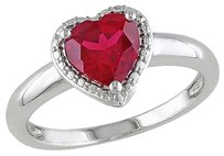 1 58 Ct Tgw Ruby Heart Love Fashion Ring In Sterling Silver
