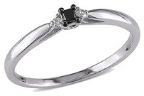 Sterling Silver Black White Princess And Round Diamonds Engagement Ring Gh I3