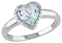 1 12 Ct Tgw Aquamarine Heart Love Fashion Ring In Sterling Silver