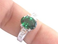 18kt Gem Tsavorite Diamond White Gold Solitaire W Accent Ring 3.08ct