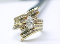 Fine Marquise Round Diamond Engagement Ring Yg 14kt 1.40ct