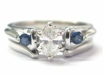 Fine Marquise Diamond Sapphire Engagement Wedding Set .70ct