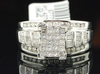 Diamond Engagement Ring 10k White Gold Round Princess Baguette Cut 1 Ct