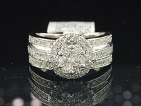 Flower Diamond Engagement Ring 14k White Gold Round Cut Bridal Band 1.26 Ct.