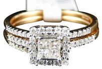 Other 14k Yellow Gold Diamond 3 Ring Engagement Wedding Ring Band Bridal Trio Set
