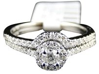 14k Womens White Gold Diamond Round Cut Engagement Wedding Ring Band Bridal Set