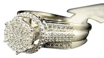 Womens Ladies Bridal Engagement Round Diamond Pave Ring