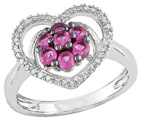 Sterling Silver 16 Ct Diamond And Created Pink Sapphire Solitaire Ring Gh I3