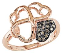 14k Pink Gold Brown Diamond Triple Heart Love Solitaire With Accents Ring
