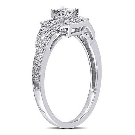 Other 10k White Gold 14 Ct Princess Round Diamonds Solitare Crossover Engagement Ring